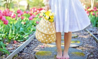 Panier, fleurs, robe