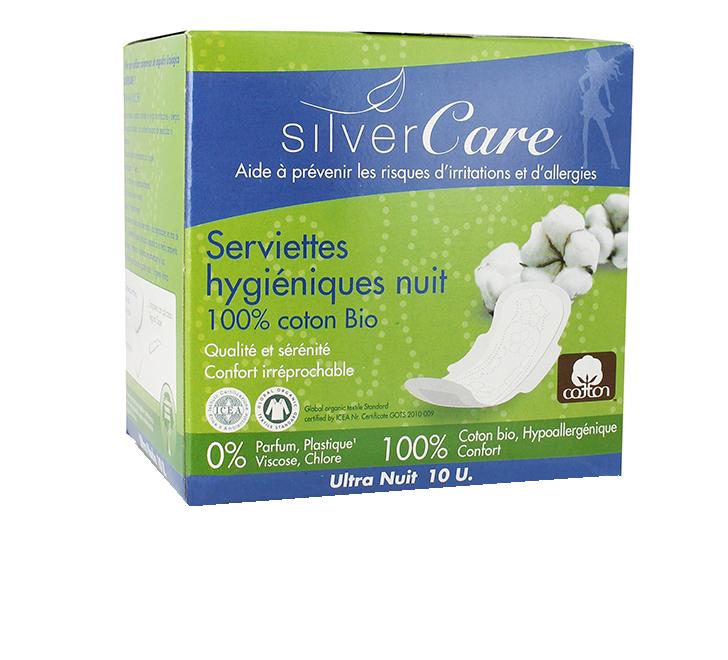 serviettes hygi niques nuit coton bio x10 silvercare. Black Bedroom Furniture Sets. Home Design Ideas