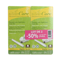 Lot de 2 boîtes de tampons normaux avec applicateur Silver Care