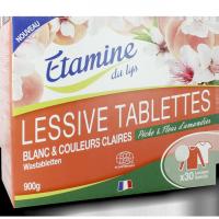 lessive tablettes pêche et fleur d'amandier