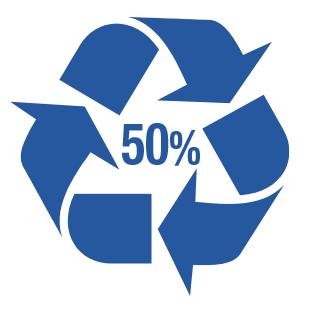 50% plastique recyclé